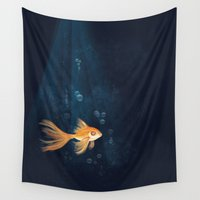 goldfish Wall Tapestries featuring Goldfish by erikakettle