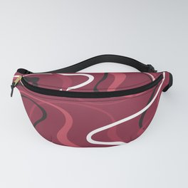 Pink Red Black And White Swirls On Cranberry Abstract Design Fanny Pack