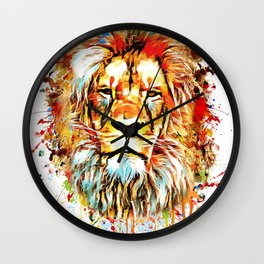 lion face abstract illustration Wall Clock