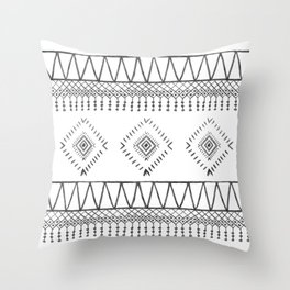 Gray Boho Aztec Throw Pillow