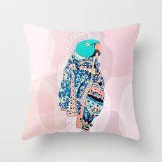 Bird and foulard Throw Pillow