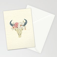 Bull skull floral tribal watercolor Stationery Cards