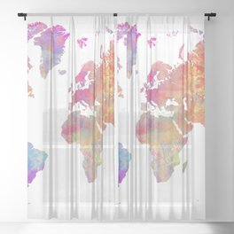 Map of the world #map #world Sheer Curtain