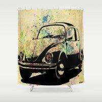 beetle Shower Curtains featuring Beetle by Del Vecchio Art by Aureo Del Vecchio