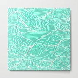 Modern white turquoise hand drawn waves abstract geometric pattern Metal Print
