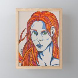 Green Eyed Woman - Ink pen marker design  Framed Mini Art Print