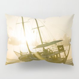 Wrecked boat abandoned stand on beach in RHodes Greece Pillow Sham