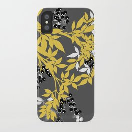 TREE BRANCHES YELLOW GRAY  AND BLACK LEAVES AND BERRIES iPhone Case