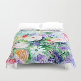 "Watercolor Painting ""Good Mood Flowers Duvet Cover"