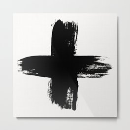 Large Swiss Cross Black Brush Metal Print