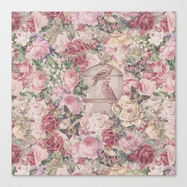Romantic Flower Pattern And Birdcage Canvas Print