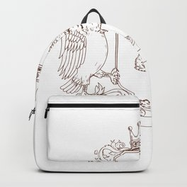 Owl and Hawk Redwood Crown Crest Drawing Backpack