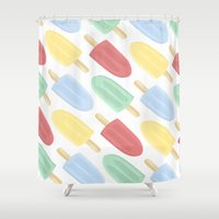 popsicle Shower Curtains featuring Popsicle by Laura Barclay