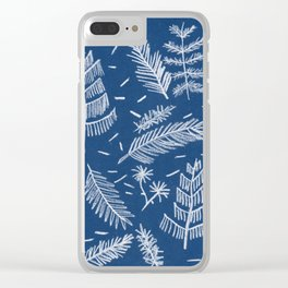 White Pine on Speckled Blue Clear iPhone Case