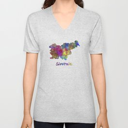 Slovenia in watercolor Unisex V-Neck
