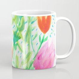 Vibrant Pink and Orange Watercolor Flower Bouquet  Coffee Mug