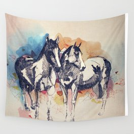 Two Horses (Standing) Wall Tapestry