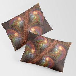 Colorful Fluorescent Abstract Modern Brown Fractal Pillow Sham