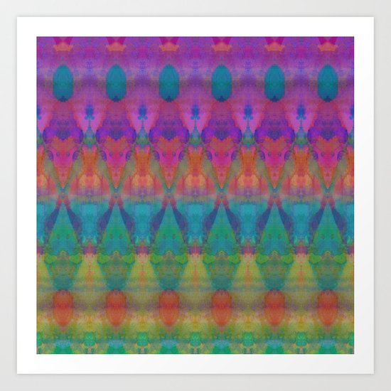 Tribal Diamonds Watercolour Art Print