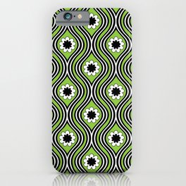 1960s Retro Funky Floral Green Flower Power Hippie iPhone Case