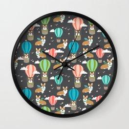 Corgis in Hot Air Balloons - cute dog design Wall Clock