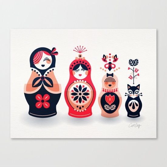 Russian Nesting Dolls – Hot Pink Canvas Print