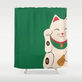 Green Lucky Cat Maneki Neko Shower Curtain