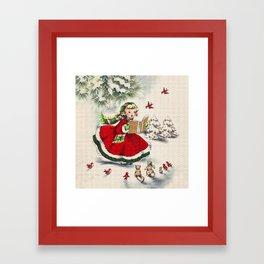 Vintage Christmas Girl Framed Art Print