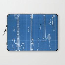 Bass Guitar Patent - Bass Guitarist Art - Blueprint Laptop Sleeve