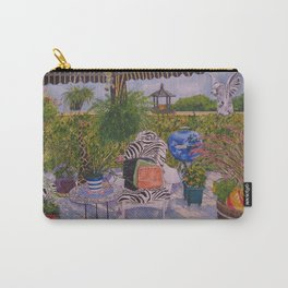 Garden Deck With Blue Barbecue Carry-All Pouch
