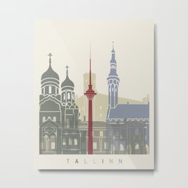 Tallinn skyline poster Metal Print