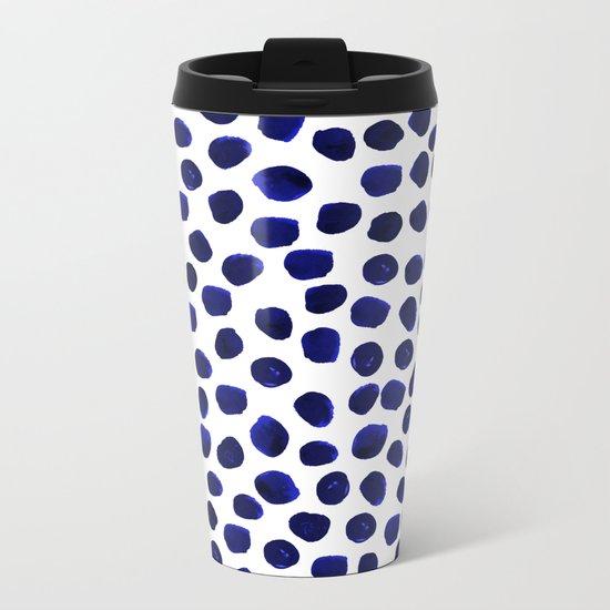 Indigo Spots dots minimal modern abstract painting boho dorm college decor monochromatic nautical Metal Travel Mug