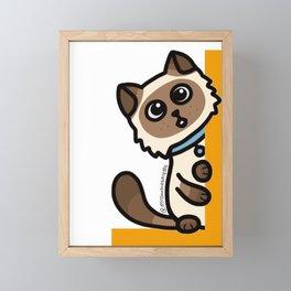 Cute Cat Peek a Boo Says, Stay At Home - Hey you, Stay Home - Siamese Birman Cat - mydoodlesateme Framed Mini Art Print