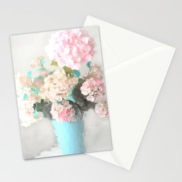 Shabby Chic Hydrangea Flowers Pink White Aqua Blue Stationery Cards