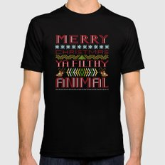 merry christmas ya filthy animal MEDIUM Mens Fitted Tee Black