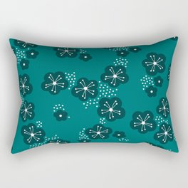 Hello spring Japanese cherry blossom love teal Rectangular Pillow