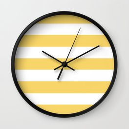 Orange-yellow (Crayola) - solid color - white stripes pattern Wall Clock