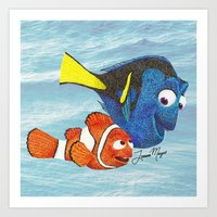 finding nemo Art Prints featuring Finding Nemo by Larissa