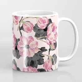 Girly Blush Pink and Black Watercolor Flowers Coffee Mug