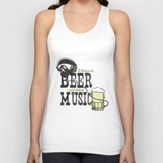 I Listen to Beer and Drink Music Unisex Tank Top