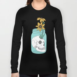 Skull in Jar with Flowers Long Sleeve T-shirt