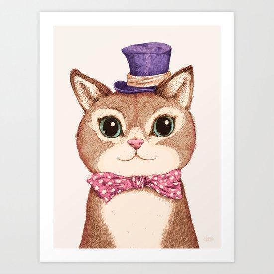 Cat in the Purple Hat Art Print
