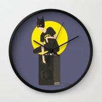 tegan and sara Wall Clocks featuring Tegan and Sara: Bategan #2 by Cas.