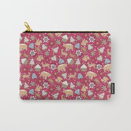 Gingerbread on a crimson background Carry-All Pouch