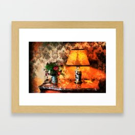 Flowers, vase and lamp in a French country cottage Framed Art Print