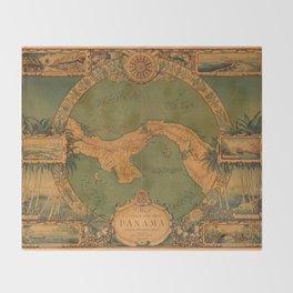 Historical Map of Panama Throw Blanket