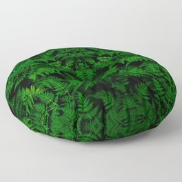 vivid green lady fern plant botanical pattern Floor Pillow