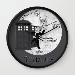 Vintage Doctor Who Ad - Companion Needed! Wall Clock