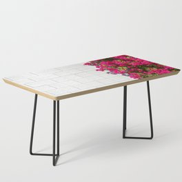 Bougainvilleas and White Brick Wall in Palm Springs, California Coffee Table