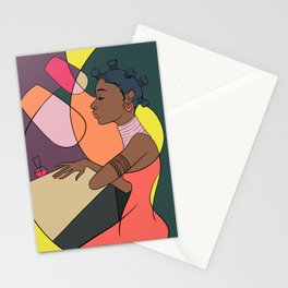 Girl In Nail Salon Stationery Cards